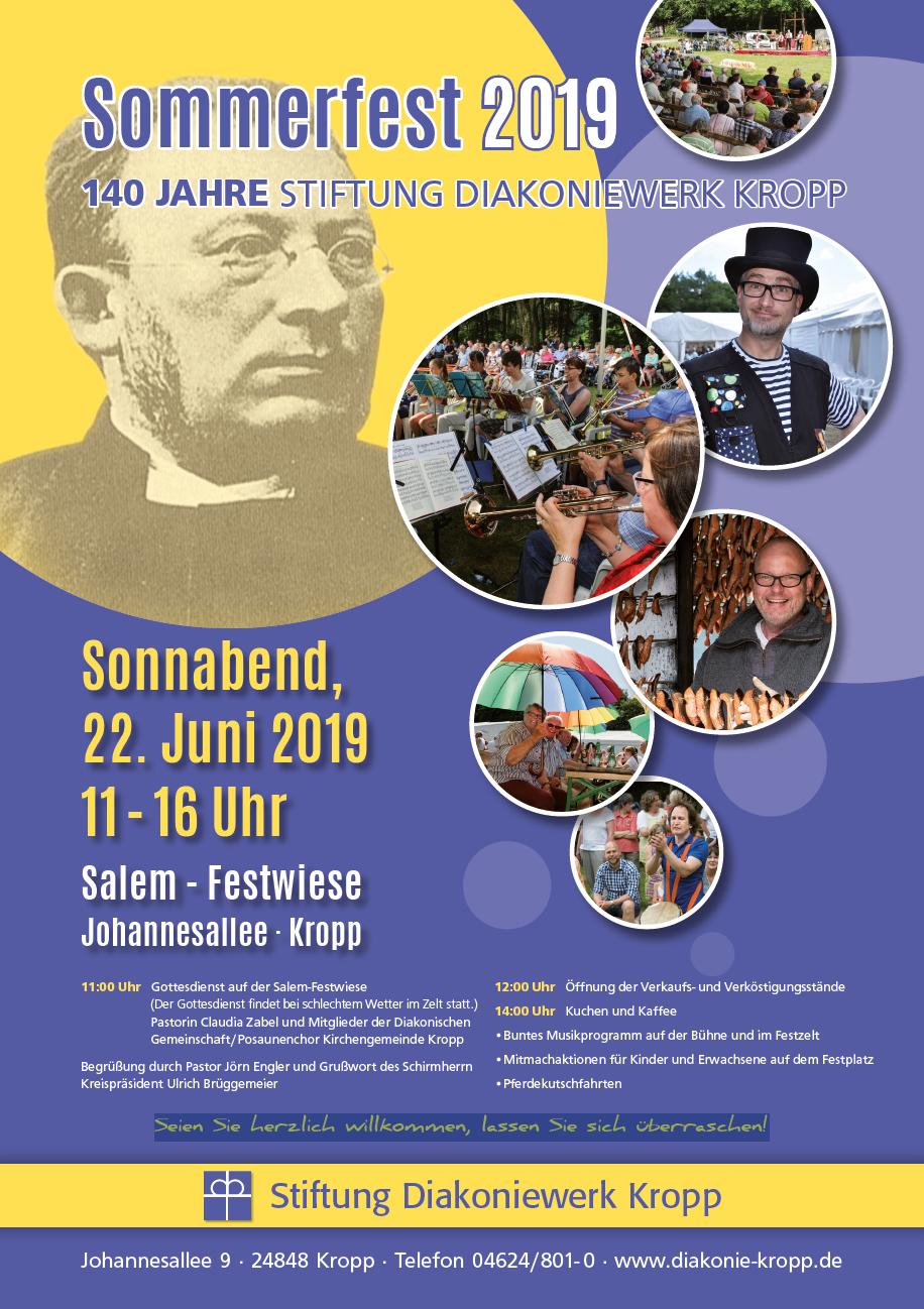 Plakat Sommerfest 2019 Stiftung Diakoniewerk Kropp